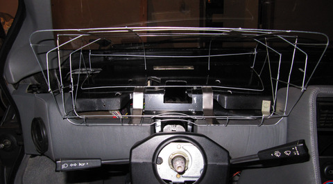 Binnacle prototype wireframe in car, front