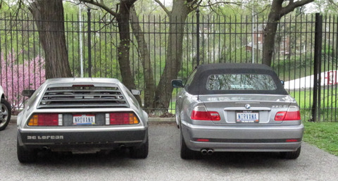 NRDVANA and NIRVANA license plates, side by side!