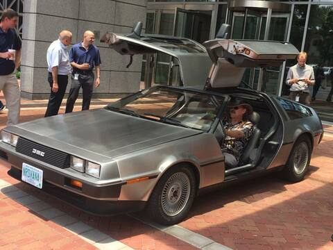 Larry Wall, author of Perl, checking out perl-powered DeLorean